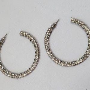 BKE Jewelry - BKE Rhinestone Embellished Glitzy Hoop Earrings